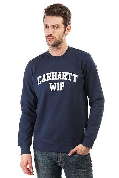 Толстовка классическая Carhartt Sporty Sweatshirt Blue/White<br><br>Цвет: синий<br>Тип: Толстовка классическая<br>Возраст: Взрослый<br>Пол: Мужской