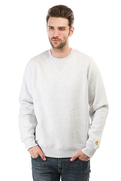 Толстовка свитшот Carhartt WIP Chase Sweatshirt Ash Heather/Gold футболка женская carhartt wip carrie yale ash heather
