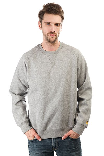 Толстовка свитшот Carhartt Chase Sweatshirt Grey Heather<br><br>Цвет: серый<br>Тип: Толстовка свитшот<br>Возраст: Взрослый<br>Пол: Мужской
