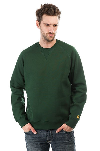 Толстовка свитшот Carhartt WIP Chase Sweatshirt Fir/Gold<br><br>Цвет: зеленый<br>Тип: Толстовка свитшот<br>Возраст: Взрослый<br>Пол: Мужской