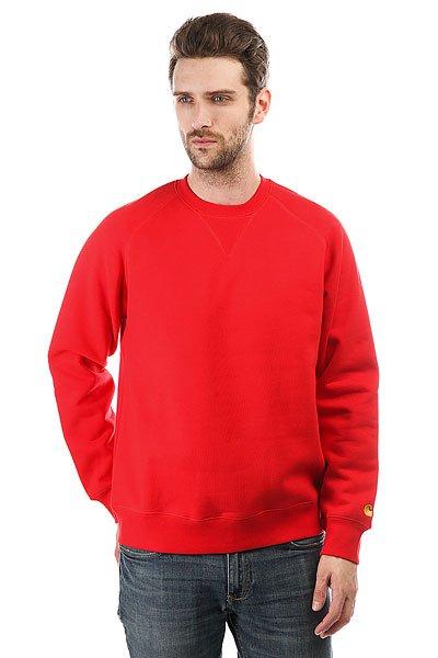Толстовка свитшот Carhartt WIP Chase Sweatshirt Chili/Gold<br><br>Цвет: красный<br>Тип: Толстовка свитшот<br>Возраст: Взрослый<br>Пол: Мужской