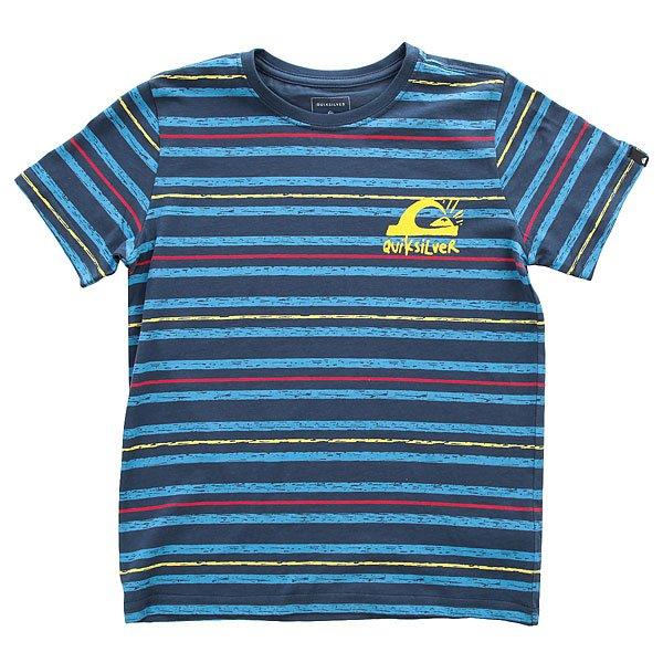 Футболка детская Quiksilver Ssteeboylogospa Dark Denim<br><br>Цвет: синий<br>Тип: Футболка<br>Возраст: Детский