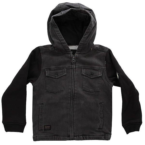 Куртка детская Quiksilver Selfeetboy TarmacУдобная детская курточка для прохладного времени года – подарит максимум комфорта и тепла вашему ребенку, не ограничивая его движений.Характеристики:Без внутренней подкладки.Фиксированный капюшон. Рукава с эластичными манжетами.Застежка – молния. Боковые прорезные карманы для рук. Накладные карманы на груди.<br><br>Цвет: черный,серый<br>Тип: Куртка<br>Возраст: Детский