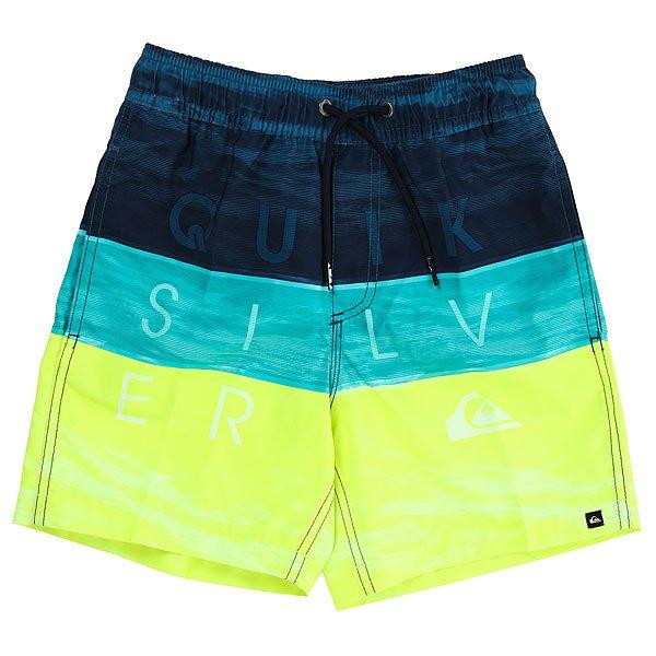 Шорты пляжные детские Quiksilver Wordwavesvlb12 Viridian Green<br><br>Цвет: синий,голубой,желтый<br>Тип: Шорты пляжные<br>Возраст: Детский