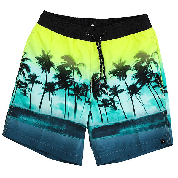 Шорты пляжные детские Quiksilver Wavesvlyouth15 Viridian Green<br><br>Цвет: мультиколор<br>Тип: Шорты пляжные<br>Возраст: Детский