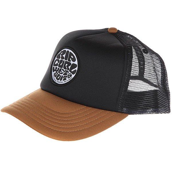 Бейсболка с сеткой Rip Curl Wetty Badge Trucker Brown<br><br>Цвет: черный,коричневый<br>Тип: Бейсболка с сеткой<br>Возраст: Взрослый