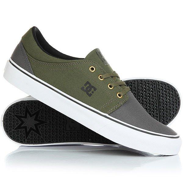 Кеды кроссовки низкие DC Trase Tx Real Grey/Black/Green dc shoes кеды dc heathrow se 11