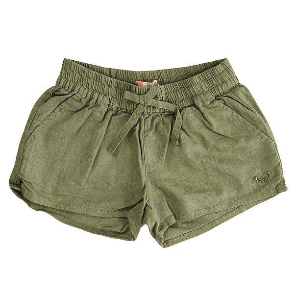 Шорты классические детские Roxy Palmthree Oil Green<br><br>Цвет: зеленый<br>Тип: Шорты классические<br>Возраст: Детский