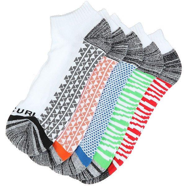 Носки низкие Rip Curl Pop Ankle Sock 5-pack White<br><br>Цвет: мультиколор,белый<br>Тип: Носки низкие<br>Возраст: Взрослый<br>Пол: Мужской