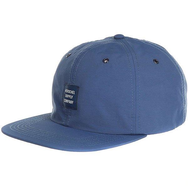 Бейсболка с прямым козырьком Herschel Albert Navy<br><br>Цвет: синий<br>Тип: Бейсболка с прямым козырьком<br>Возраст: Взрослый