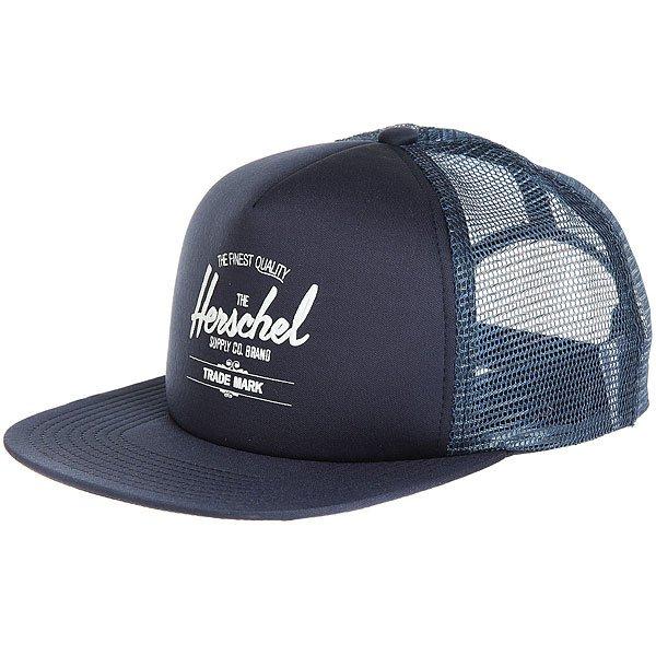 Бейсболка с сеткой Herschel Whaler Mesh Navy<br><br>Цвет: синий<br>Тип: Бейсболка с сеткой<br>Возраст: Взрослый