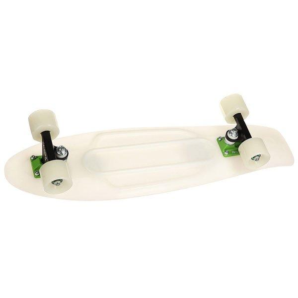 Скейт мини круизер Penny Nickel 27 Glow Gamma Glow - Green 7.5 x 27 (69 см)Этот скейт способен скрасить ваше вечернее катание по городу и в парке. Удивляй, катайся и разучивай новые флипы и слайды! При наступлении вечера его белая пластиковая дека и колеса начинают светиться зеленым. Модель подходит для любого стиля и уровня катания.Технические характеристики: Длина - 68,6 см, ширина - 19 см.Вес - 3 кг.Подвеска - Custom 4 из алюминия.Колеса из полиуретана - 59 мм, жесткость 78А.Подшипники Penny Abec 7.Вес райдера - до 130 кг.<br><br>Цвет: белый<br>Тип: Скейт мини круизер<br>Возраст: Взрослый<br>Пол: Мужской