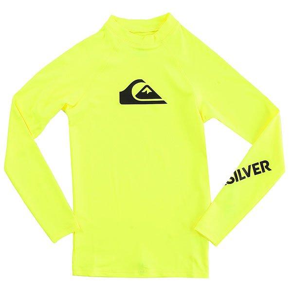 Гидрофутболка детская Quiksilver All Time Boy Ls Safety YellowГидрофутболка с длинным рукавом для мальчиков All Time.Технические характеристики: Мягкий и износостойкий эластичный полиэстер.Изделие превосходно сохраняет форму и цвет.Плотно прилегает к телу.Фактор защиты от УФ излучения UPF 50.<br><br>Цвет: желтый<br>Тип: Гидрофутболка<br>Возраст: Детский