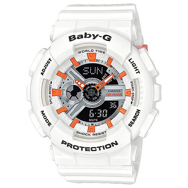 Кварцевые часы женские Casio G-Shock Baby-g 67684 ba-110pp-7a2Одной из наиболее ярких и интересных коллекцийCasioявляется женские часыCasio Baby-G. Она предназначена специально для молодых, активных женщин, которые стремятся ни в чем не отставать от мужчин. ЧасыCasio Baby-Gобладают такими же прекрасными прочностными и техническими характеристиками, как и Casio G-Shock. Их главным отличием является оригинальный яркий дизайн и более женственные, утонченные формы.Casio Baby-Gизготавливаются исключительно из высокопрочных, надежных материалов, таких как высококачественный пластик, минеральное стекло, каучук.Характеристики:Данная модель представлена в аналого-цифровом варианте (стрелки + Жидкокристаллический дисплей). Светодиодная подсветка.Показания текущего времени в 48 городах (29 часовых зон). Секундомер позволяет регистрировать отдельные отрезки времени, время с промежуточным результатом и время двойного финиша. Точность измерения 1/100 сек, запас измерения 24 часа.Таймер обратного отсчета. Максимальное время установки 24 часа - шаг измерения 1/1 сек, минимальное время установки 1 минута. Ежедневный сигнал звучит каждый день в установленное вами время. Можно установить до 5 независимых ежедневных сигналов.Функция повтора сигнала будильника (SNOOZE). Функция ежечасного сигнала обеспечивает подачу часами звукового сигнала при наступлении каждого нового часа.Включение/выключение звука кнопок. Полностью автоматический календарь.Время может отображаться как в 12-часовом, так и в 24-часовом формате.Ударопрочная конструкция защищает от ударов и вибрации. Водозащита 10 АТМ (100 метров). Жесткое стекло, устойчивое к царапанию. Корпус из полимерного материала. Ремешок из полимерного материала. Срок службы батареи – 2 года.<br><br>Цвет: белый<br>Тип: Кварцевые часы<br>Возраст: Взрослый<br>Пол: Женский