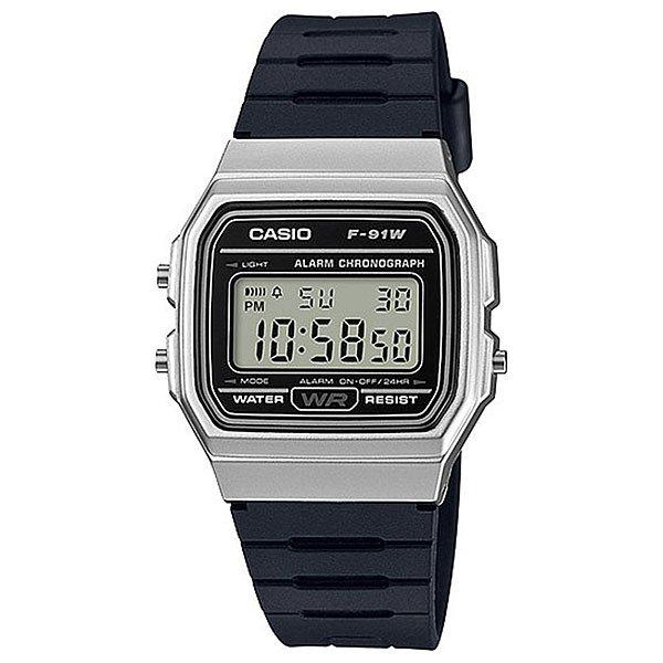 Электронные часы Casio Collection 67652 f-91wm-7aПростые и удобные в использовании часы на каждый день в популярном ретро-стиле.Характеристики:Электролюминесцентная микроподсветка.Циферблат освещается сбоку встроенным источником света. Точное измерение истекшего времени касанием кнопки. Секундомер позволяет регистрировать отдельные отрезки времени, время с промежуточным результатом и время двойного финиша. Точность измерения 1/100 сек, запас измерения 1 час. Ежедневный сигнал звучит каждый день в установленное вами время. Функция ежечасного сигнала обеспечивает подачу часами звукового сигнала при наступлении каждого нового часа. Автоматически учитываются месяцы разной продолжительности, не считая високосного года. 12- и 24-часовой формат времени. Срок службы батареи - не менее 7-ми лет.Водонепроницаемые при обычном повседневном использовании.<br><br>Цвет: черный<br>Тип: Электронные часы<br>Возраст: Взрослый<br>Пол: Мужской