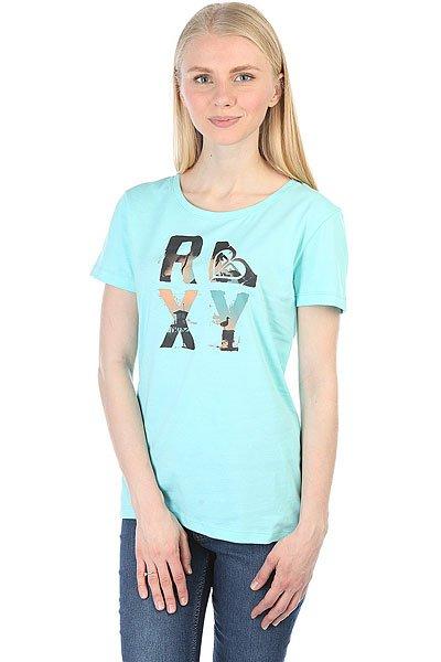 Футболка женская Roxy Ittbtstackeds Aruba Blue<br><br>Цвет: голубой<br>Тип: Футболка<br>Возраст: Взрослый<br>Пол: Женский