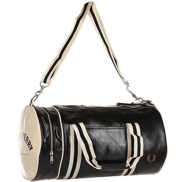 Сумка спортивная Fred Perry Classic Barrel Bag Black/BeigeКлассическая спортивная сумка с традиционной отделкой от Fred Perry.Технические характеристики: Ручки и регулируемый плечевой ремень из хлопка.Двойная молния.Внешний накладной карман, внутренний карман на молнии и отделение на молнии.Тисненый логотип Fred Perry.<br><br>Цвет: черный,бежевый<br>Тип: Сумка спортивная<br>Возраст: Взрослый<br>Пол: Мужской