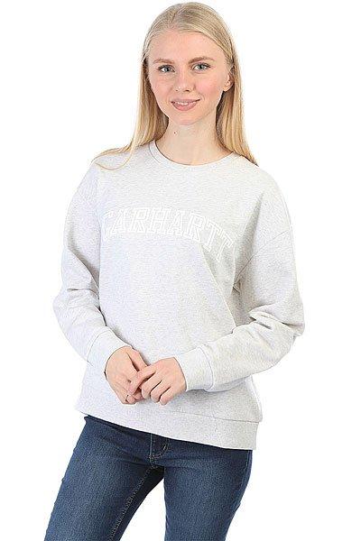 Толстовка классическая женская Carhartt Yale Sweatshirt Ash Heather/White<br><br>Цвет: серый<br>Тип: Толстовка классическая<br>Возраст: Взрослый<br>Пол: Женский