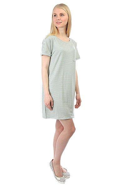 Платье женское Obey Right Above Dress Sea Fog Stripe<br><br>Цвет: белый,зеленый<br>Тип: Платье<br>Возраст: Взрослый<br>Пол: Женский