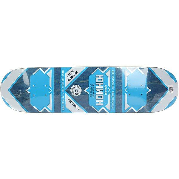 Дека для скейтборда для скейтборда Юнион Sgushenka Blue 31.875 x 8.125 (20.6 см)Ширина деки: 8.125 (20.6 см)    Длина деки: 31.875 (81 см)    Количество слоев: 7  При покупке сейчас Вы получите подарок: Шкурка для скейтборда Юнион Logo Grip Black (One Size)<br><br>Цвет: синий,белый<br>Тип: Дека для скейтборда