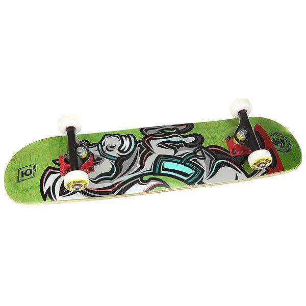 Скейтборд в сборе детский Юнион Horse Green 28 x 7 (17.8 см)<br><br>Цвет: мультиколор,зеленый<br>Тип: Скейтборд в сборе детский