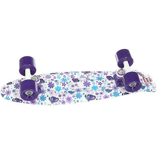 Скейт мини круизер Пластборд Flower White/Purple/Blue 6 x 22.5 (57.2 см)