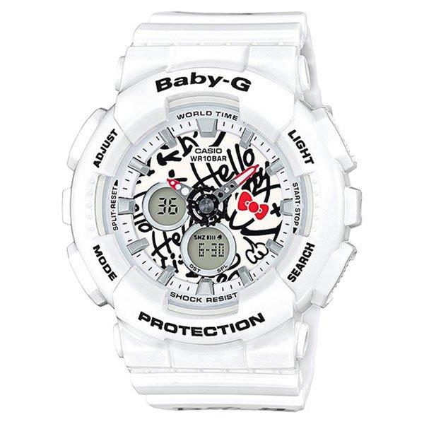 Электронные часы женские Casio G-Shock Baby-g ba-120kt-7a WhiteПовседневные часы для активных женщин выпущенные при совместном сотрудничестве с HELLO KITTY.Технические характеристики: Светодиодная подсветка.Мировое время (29 часовых поясов).Секундомер 1/100 сек. 1 час.Таймер обратного отсчета 1 сек. 60 минут.5 ежедневных будильников.Почасовой сигнал времени.Автоматический календарь.Формат времени 12/24 часа.Минеральное стекло.Точность ±30 секунд в месяц.Срок службы батареи 2 года.Больше новых расцветок в ударопрочной коллекции для современных девушек. Многофункциональный механизм с двойной цифроаналоговой индикацией. Фирменный выпуск HELLO KITTY! Характеристики:Электрическая подсветка - для освещения циферблата используется светодиод. Отображение текущего времени в основных городах и регионах мира. Секундомер с точностью показаний 1/100 сек и максимальным временем измерения - 1 час. Таймер с функцией автоповтора. 5 ежедневных будильников. Функция повтора сигнала будильника (Snooze).Автоматический календарь. Отображение времени в 12-ти и 24-х часовом формате времени. Особая ударопрочная конструкция защищает от ударов и вибрации.Корпус выполнен из пластика. Минеральное стекло устойчивое к возникновению царапин. Ремешок из полимерного материала. Водозащита до 10 АТМ.<br><br>Цвет: белый<br>Тип: Электронные часы<br>Возраст: Взрослый<br>Пол: Женский