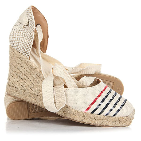 цена Сабо женское Soludos Striped Tall Wedge Red Navy Natural онлайн в 2017 году