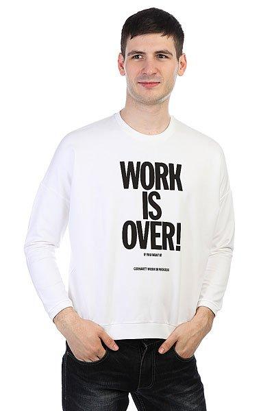 Толстовка классическая женская Carhartt WIP Ellery Work Is Over Sweatshirt White/Black<br><br>Цвет: белый<br>Тип: Толстовка классическая<br>Возраст: Взрослый<br>Пол: Женский