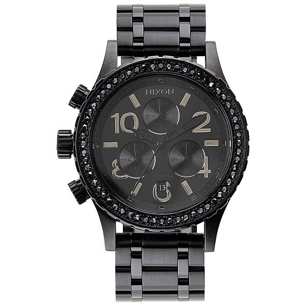 Кварцевые часы женские Nixon 38-20 Chrono All Black Crystal часы nixon re run leather all black
