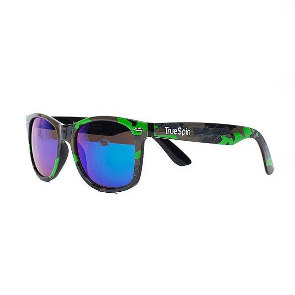 Очки TrueSpin Neo Camo Multi-2Стильные солнцезащитные очки TrueSpin в классической wayfarer-оправе из прочного пластика с ярким камуфляжным принтом.Технические характеристики: Классическая оправа.Надёжный механизм.Линзы с защитой от ультрафиолета UV400.Материал - пластик.Длина дужки - 14 см, ширина оправы - 14 см, высота линзы - 5 см.<br><br>Цвет: зеленый,черный<br>Тип: Очки<br>Возраст: Взрослый<br>Пол: Мужской