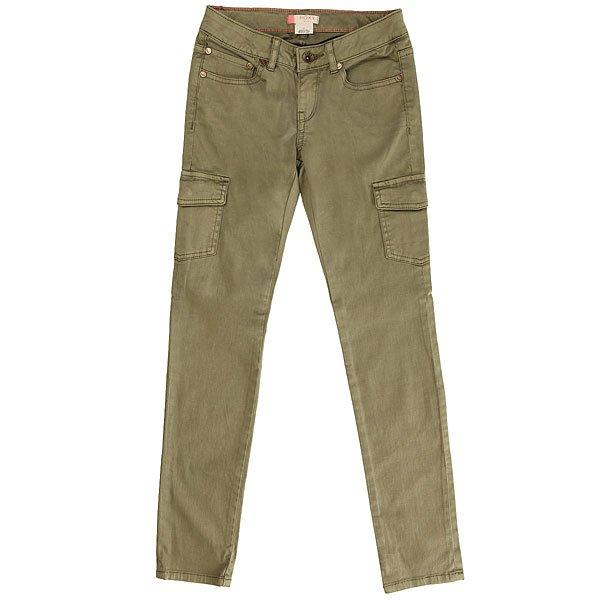 Штаны прямые детские Roxy Rgcecilcargo Oil Green<br><br>Цвет: зеленый<br>Тип: Штаны прямые<br>Возраст: Детский