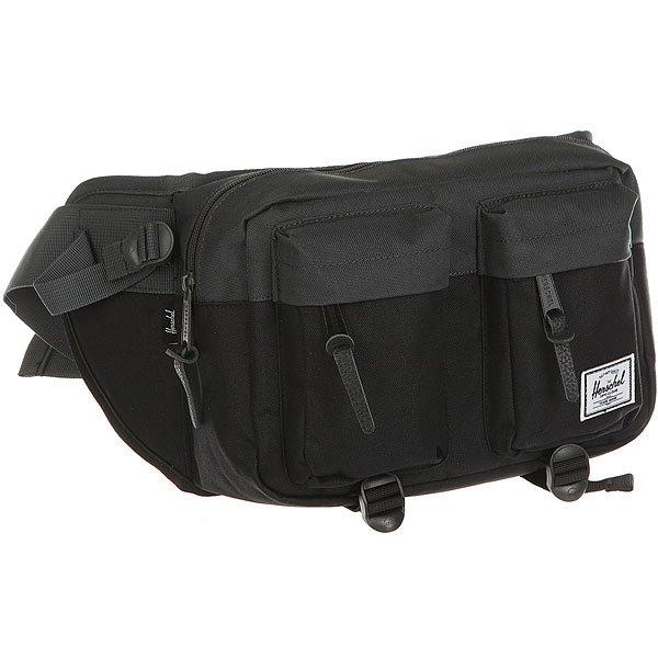 Сумка поясная Herschel Eighteen Black/Dark ShadowБольшое основное отделение и дополнительные карманы спереди в удобной сумке на каждый день от Herschel.Технические характеристики:Классическая полосатая подкладка.Большое основное отделение и два кармана для хранения.Кожаная отделка.Регулируемый ремешок.Мягкая спинка из дышащей сетки.Нашивка с логотипом.<br><br>Цвет: черный,Темно-серый<br>Тип: Сумка поясная<br>Возраст: Взрослый<br>Пол: Мужской