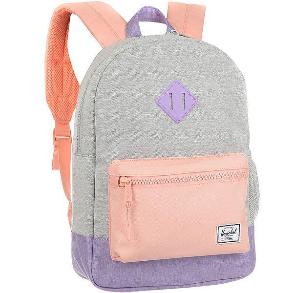 Рюкзак городской детский Herschel Heritage Youth Light Grey/Mv<br><br>Цвет: Светло-серый,розовый,Светло-фиолетовый<br>Тип: Рюкзак городской<br>Возраст: Детский