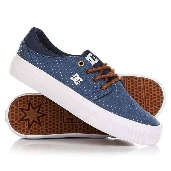 Кеды кроссовки низкие женские DC Shoes Trase Tx Se Blue/Brown/White dc shoes кеды dc council se navy camel 8