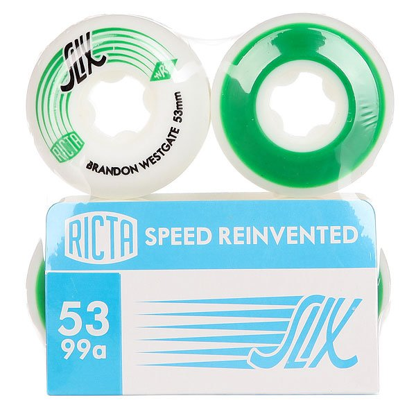 Колеса для скейтборда для скейтборда Ricta Brandon Westgate Slix White/Green 99A 53 mmДиаметр: 53 mm    Жесткость: 99A    Цена указана за комплект из 4-х колес<br><br>Цвет: белый,зеленый<br>Тип: Колеса для скейтборда<br>Возраст: Взрослый<br>Пол: Мужской