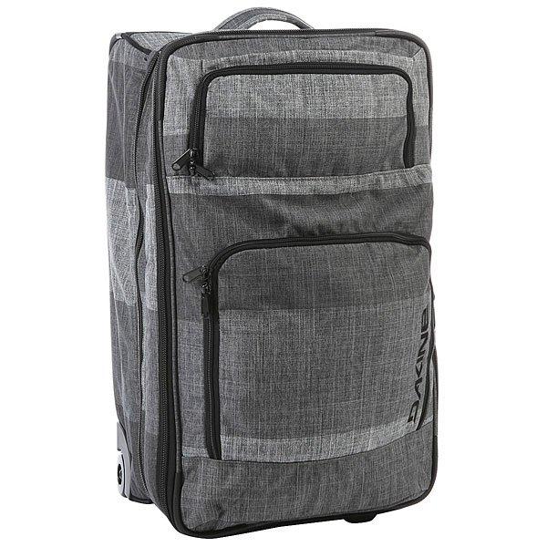 Сумка дорожная Dakine Over Under PewterДорожная сумка с телескопической рукояткой и на колёсиках - прекрасный выбор для дальнего путешествия. Возможность увеличения объема сумки, расстегнув молнию по ее периметру. В уменьшенном состоянии сумку можно брать в качестве ручной клади в самолеты большинства авиакомпаний.Технические характеристики: Материал - полиэстер 600D.Возможность расширения главного отделения.Дизайн и конструкция сумки обеспечивают легкий доступ.Наружные карманы-органайзеры.Выдвижная ручка.Сменные уретановые колеса.<br><br>Цвет: серый<br>Тип: Сумка дорожная<br>Возраст: Взрослый
