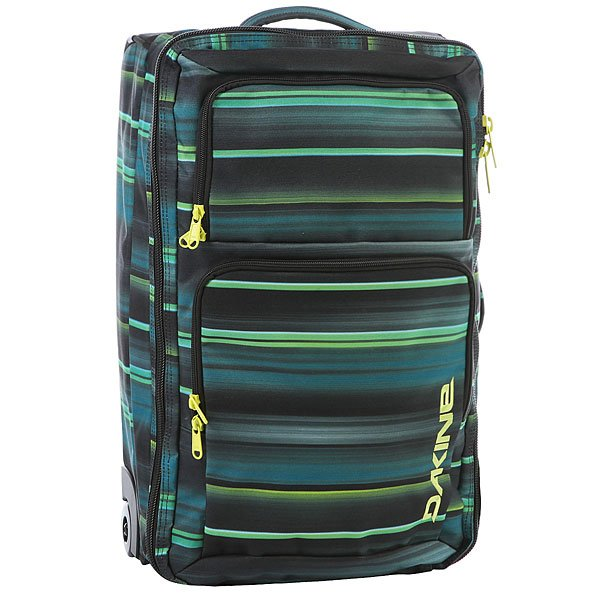 Сумка дорожная Dakine Carry On Roller HazeДорожная сумка Dakine Carry On Roller с гладко скользящими полиуретановыми колесами, как у скейтборда, которые легко катятся по потрескавшемуся асфальту и другой неровной поверхности.Технические характеристики: Материал - полиэстер 600D.Официально разрешенный размер ручной клади на большинстве авиалиний.Наружный карман-органайзер.Выдвижная ручка.Сменные уретановые колеса.<br><br>Цвет: синий,мультиколор<br>Тип: Сумка дорожная<br>Возраст: Взрослый