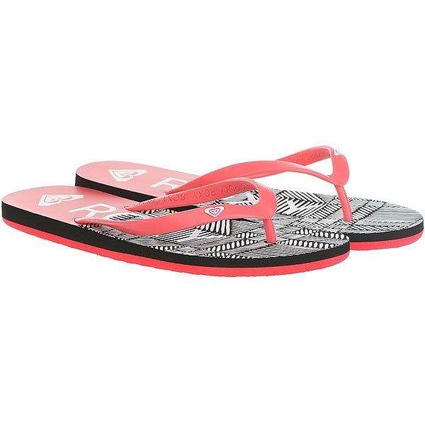 Вьетнамки женские Roxy Tahiti V Pink/Black<br><br>Цвет: черный,розовый,белый<br>Тип: Вьетнамки<br>Возраст: Взрослый<br>Пол: Женский