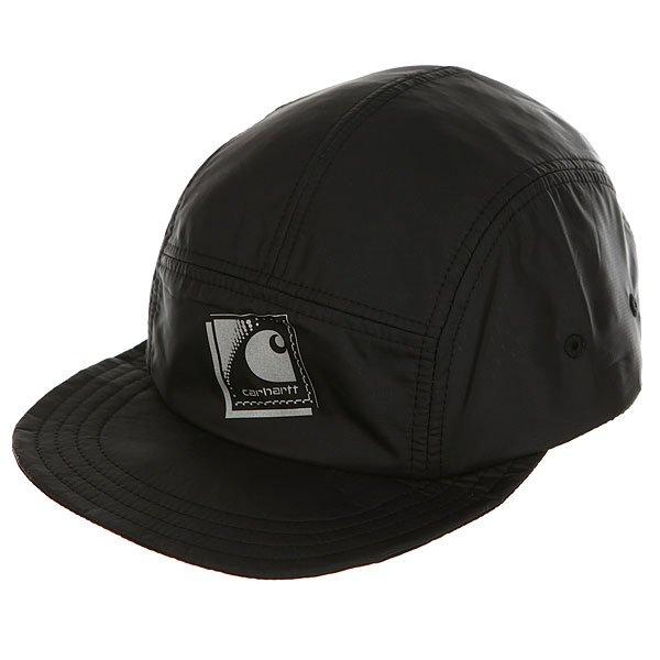 Бейсболка пятипанелька Carhartt WIP Packable Cap Black/Reflective Grey бейсболка carhartt wip i022329 black