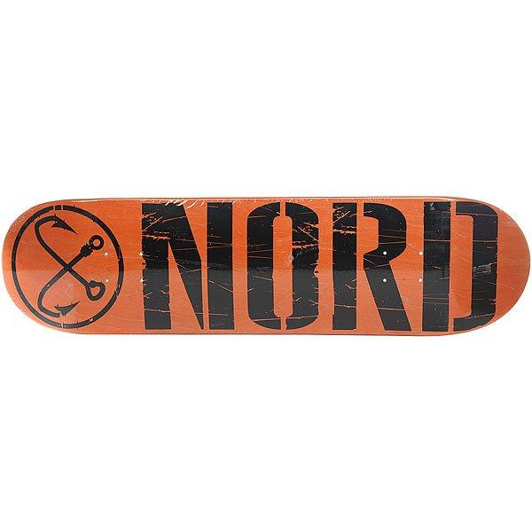 Дека для скейтборда для скейтборда Nord Лого Black Orange/Black 32.5 x 8.375 (21.3 см)