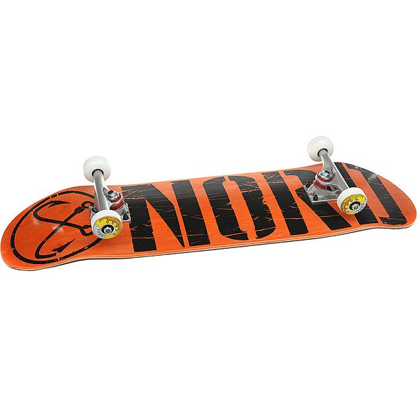 Скейтборд в сборе Nord Лого Black Orange/Black/Polished Trucks 32.375 x 8.5 (21.6 см)<br><br>Цвет: черный,серый,Темно-оранжевый<br>Тип: Скейтборд в сборе<br>Возраст: Взрослый<br>Пол: Мужской