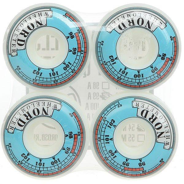 Колеса для скейтборда для скейтборда Nord Wheelometer White/Light Blue 99A 54 mm