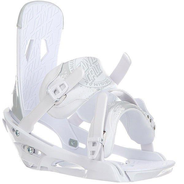 Крепления для сноуборда Santa Cruz Sigma Emy White/Cool GrayКачественные крепления для райдера любого уровня подготовки. Гибкие и крепкие, как гвоздь, выдержат любой стиль езды. Крепления Sigma супер легкие, легко настраиваются и подгоняются, четко фиксируя ботинок.Технические характеристики: Каркас креплений выполнен из сплава с добавлением легких волокон.Мульти регулировка: хайбек, база и ремешки.Легко откорректировать размер на ремнях и пряжках.Ремешок на лодыжке из мягкой искусственной кожи.Мягкий 3D ремешок из искусственной кожи на носке.Супер комфортные верхний и нижний ремни дадут Вам возможность кататься целый день, в то время как другие потянутся к ресторану после нескольких спусков.<br><br>Цвет: белый,серый<br>Тип: Крепления для сноуборда<br>Возраст: Взрослый<br>Пол: Мужской