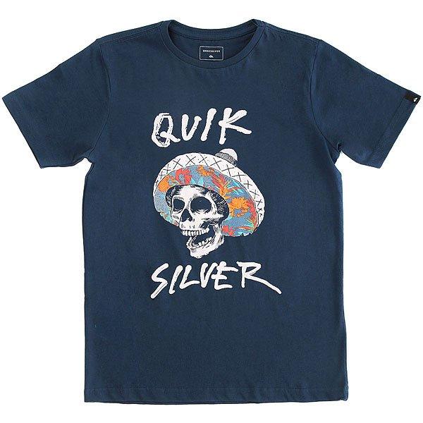 Футболка детская Quiksilver Ssteythelbronco Dark Denim<br><br>Цвет: синий<br>Тип: Футболка<br>Возраст: Детский