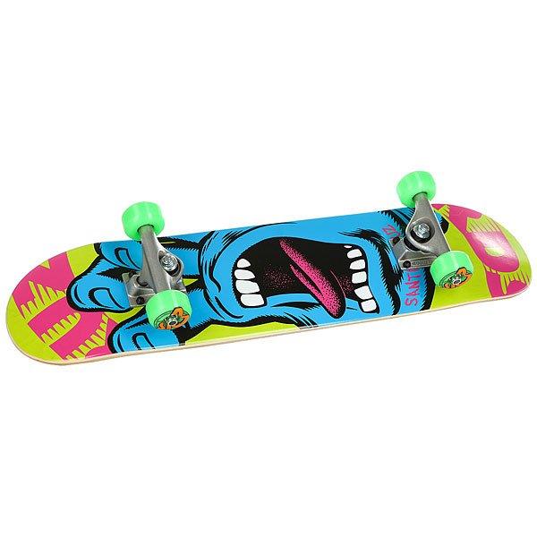 Скейтборд в сборе детский Santa Cruz Scream Mini Sk8 Complete Multi 29.2 x 7 (17.7 см)Прочный и отзывчивый скейт Santa Cruz Scream. Для детей от 6 до 10 лет.Технические характеристики: Длина - 74 см, ширина - 17,7 см.7 слоев клена.Средний конкейв.Подвески Bullet 120.Колеса OJ 52 мм.Подшипники Abec 5.Шкурка.Графика Jim Phillips.<br><br>Цвет: Светло-зеленый,синий,розовый<br>Тип: Скейтборд в сборе детский<br>Возраст: Детский