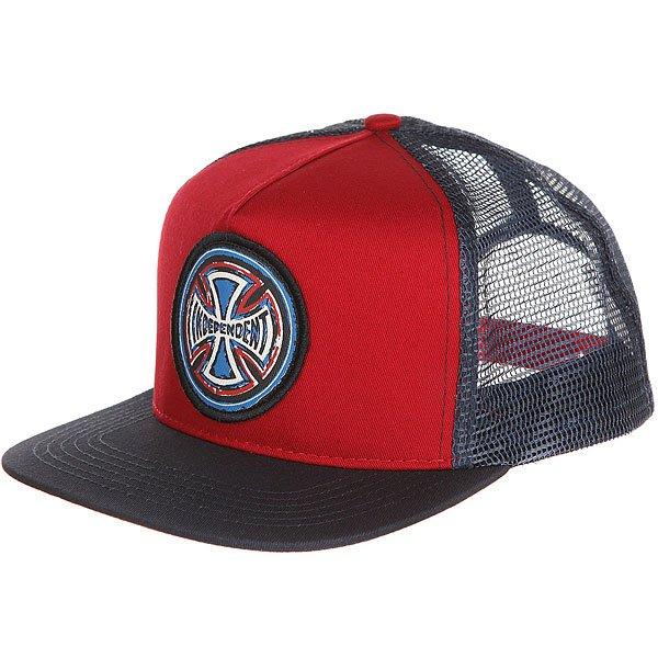 Бейсболка с сеткой Independent Weathered Cross Trucker Mesh Cardinal/Navy<br><br>Цвет: Темно-синий,бордовый<br>Тип: Бейсболка с сеткой<br>Возраст: Взрослый
