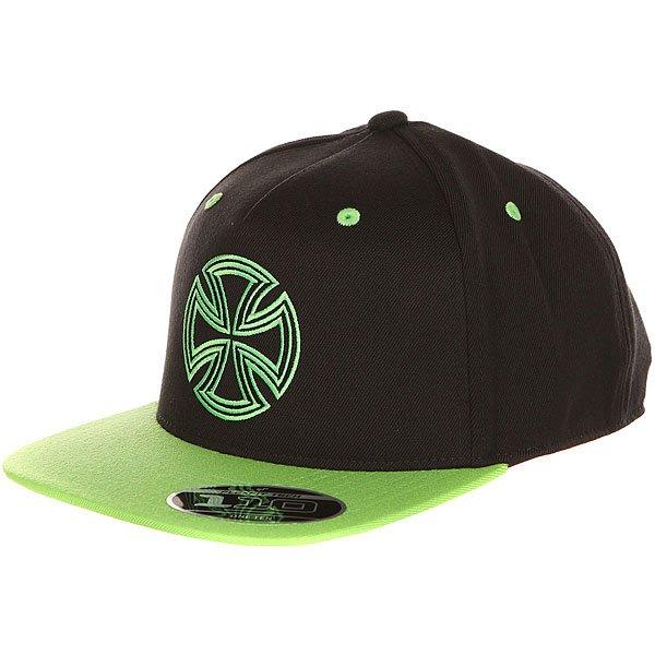 Бейсболка с прямым козырьком Independent One Ten Snapback Black/Green<br><br>Цвет: черный,Светло-зеленый<br>Тип: Бейсболка с прямым козырьком<br>Возраст: Взрослый