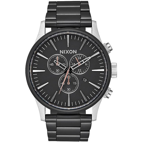 Кварцевые часы Nixon Sentry Chrono Black/Steel кварцевые часы nixon sentry chrono black rose gold