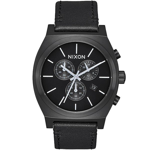 Кварцевые часы Nixon Time Teller Chrono Leather Black/White часы nixon corporal ss matte black industrial green